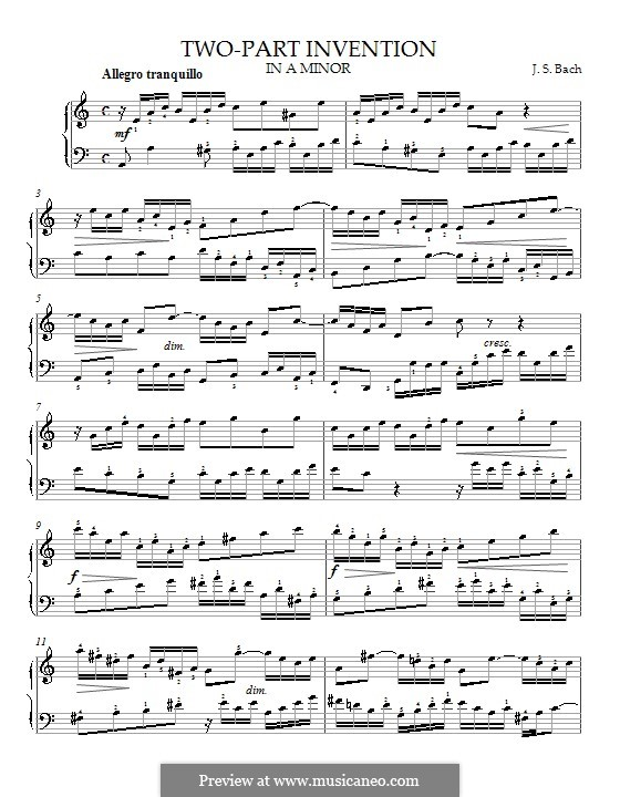 No.13 in A Minor, BWV 784: para piano (com dedilhado) by Johann Sebastian Bach