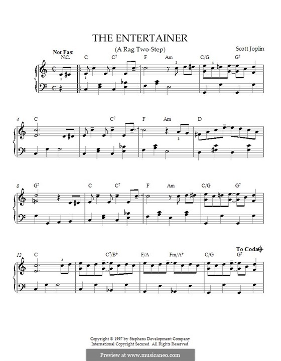 The Entertainer, for Piano: Easy version with chords by Scott Joplin
