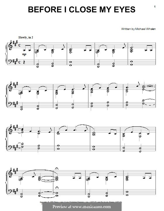 Before I Close My Eyes: Para Piano by Michael Whalen