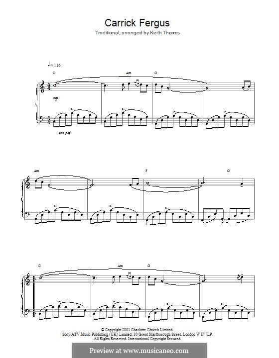 Carrickfergus: Para vocais e piano (ou Guitarra) by folklore
