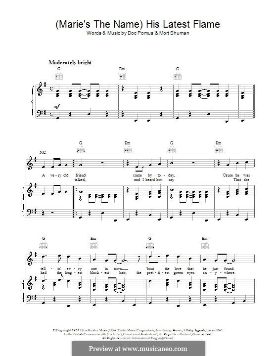 (Marie's the Name) His Latest Flame (Elvis Presley): Para vocais e piano (ou Guitarra) by Doc Pomus, Mort Shuman