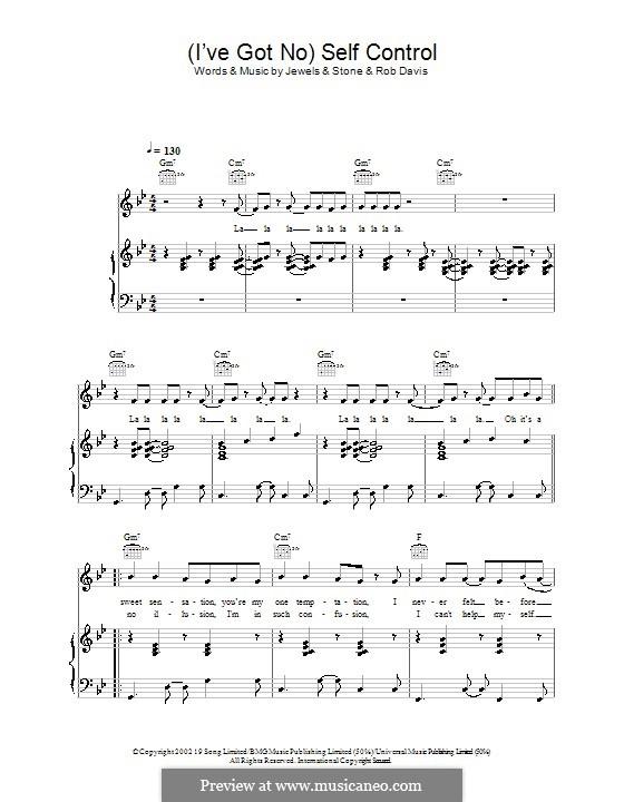 (I've Got No) Self Control (Gareth Gates): Para vocais e piano (ou Guitarra) by Robert Davis