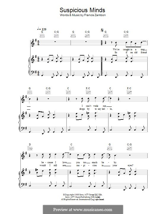 Suspicious Minds (Elvis Presley): Para vocais e piano (ou Guitarra) by Francis Zambon