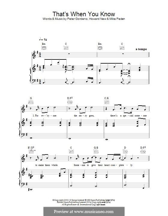 That's When You Know (Gareth Gates): Para vocais e piano (ou Guitarra) by Howard New, Mike Peden, Peter Gordeno