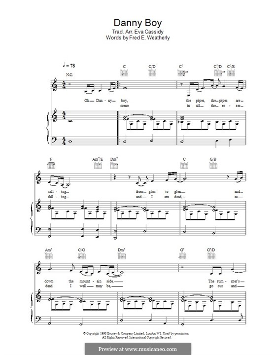 Danny Boy (Printable Scores): Para vocais e piano (ou Guitarra) by folklore