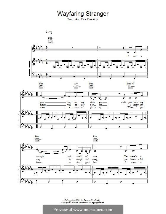 Wayfaring Stranger: Para vocais e piano (ou Guitarra) by folklore