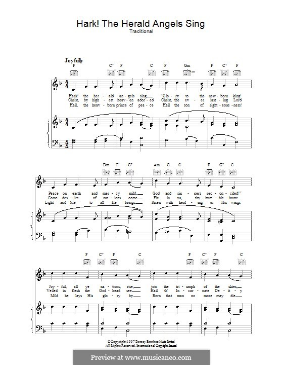 Hark! The Herald Angels Sing: Para vocais e piano (ou Guitarra) by folklore