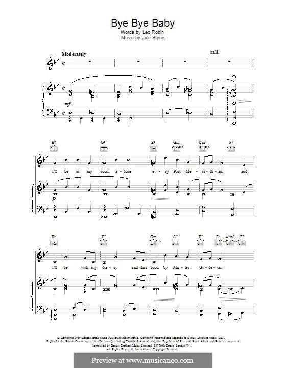 Bye Bye Baby: Para vocais e piano (ou Guitarra) by Jule Styne