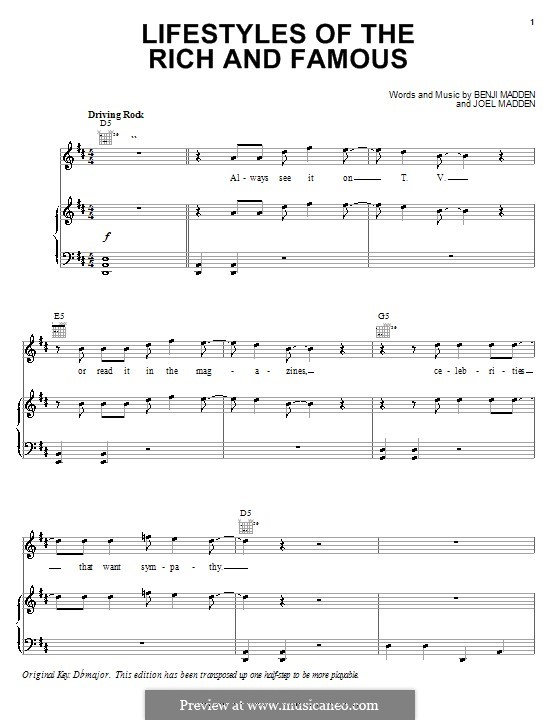 Lifestyles of the Rich and Famous (Good Charlotte): Para vocais e piano (ou Guitarra) by Benji Madden, Joel Madden