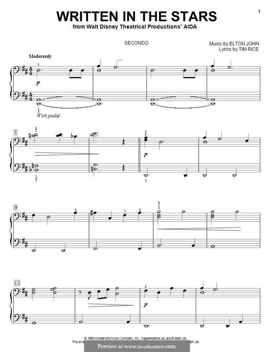 Written in the Stars: para piano de quadro mãos by Elton John