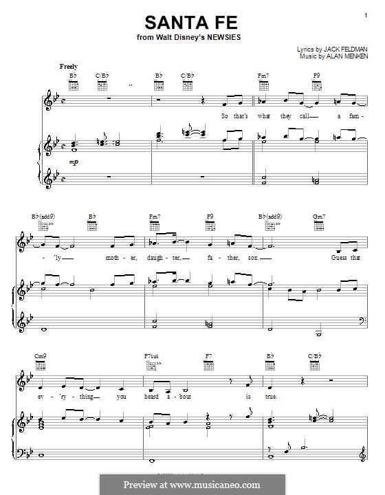 Santa Fe (from Newsies): Para vocais e piano (ou Guitarra) by Alan Menken
