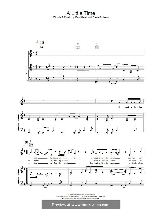 A Little Time (The Beautiful South): Para vocais e piano (ou Guitarra) by David Rotheray, Paul Heaton