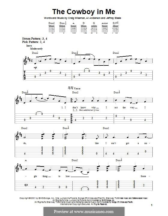 The Cowboy in Me (Tim McGraw): Para guitarra (versão facil) by Al Anderson, Craig Wiseman, Jeffrey Steele