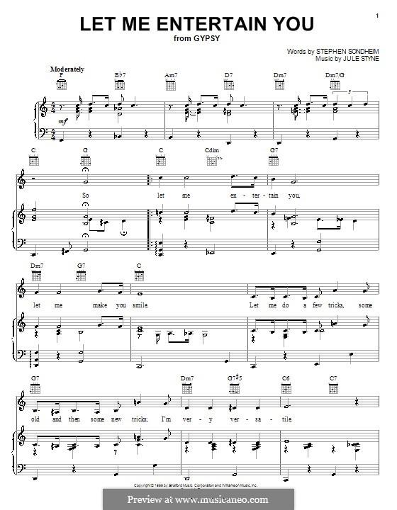 Let Me Entertain You: Para vocais e piano (ou Guitarra) by Jule Styne