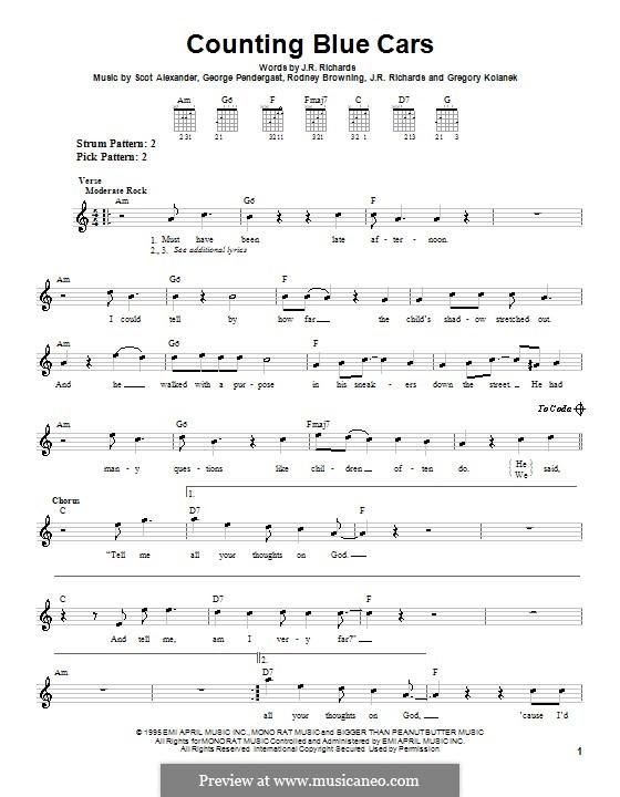 Counting Blue Cars (Dishwalla): Para guitarra (versão facil) by George Pendergast, Gregory Kolanek, J.R. Richards, Scot Alexander