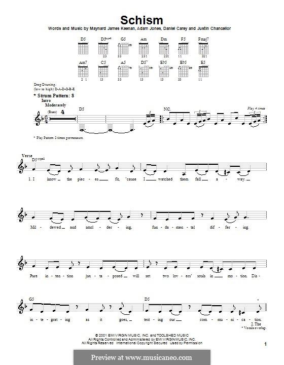 Schism (Tool): Para guitarra (versão facil) by Adam Jones, Daniel Carey, Justin Chancellor, Maynard James Keenan