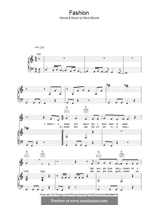 Fashion: Para vocais e piano (ou Guitarra) by David Bowie