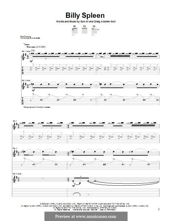 Billy Spleen (Sum 41): Para guitarra com guia by Greig Andrew Nori
