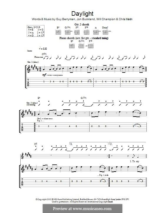 Daylight (Coldplay): para guitarras com guia by Chris Martin, Guy Berryman, Jonny Buckland, Will Champion