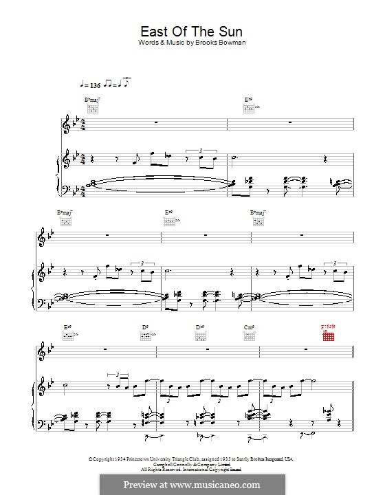 East of the Sun (And West of the Moon): Para vocais e piano (ou Guitarra) by Brooks Bowman