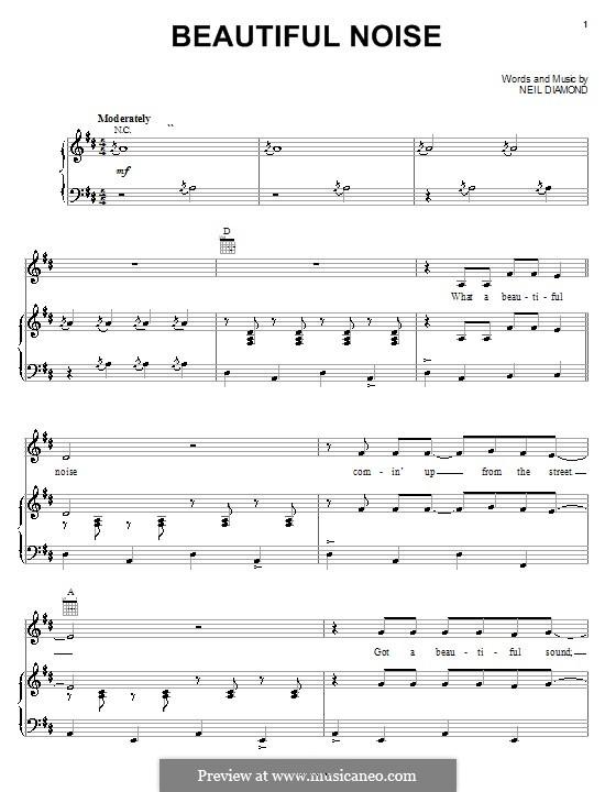 Beautiful Noise: Para vocais e piano (ou Guitarra) by Neil Diamond