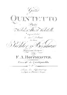 Great Quintet for Two Violins, Two Violas and Cello, Op.3: Great Quintet for Two Violins, Two Violas and Cello by Franz Anton Hoffmeister