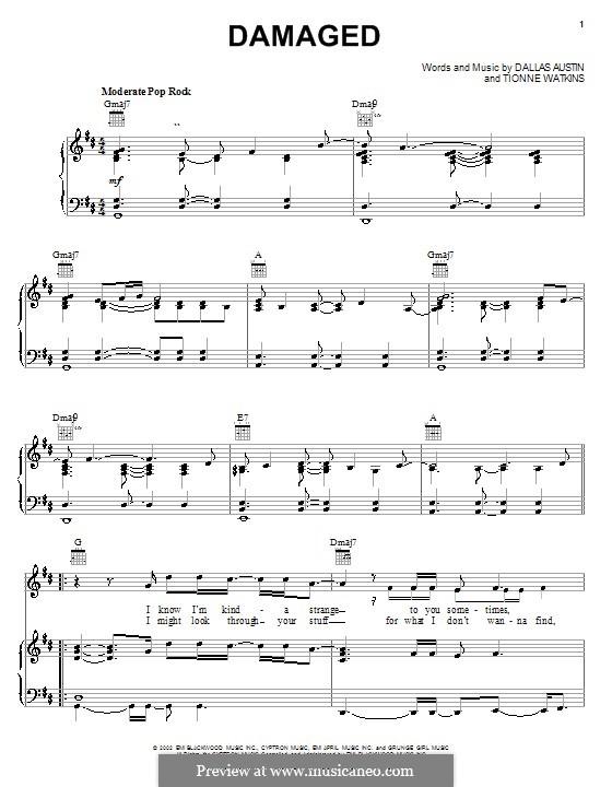 Damaged (TLC): Para vocais e piano (ou Guitarra) by Dallas Austin, Tionne Watkins
