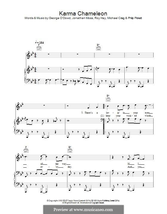 Karma Chameleon (Culture Club): Para vocais e piano (ou Guitarra) by George O'Dowd, Jon Moss, Michael Craig, Philip Pickett, Roy Hay
