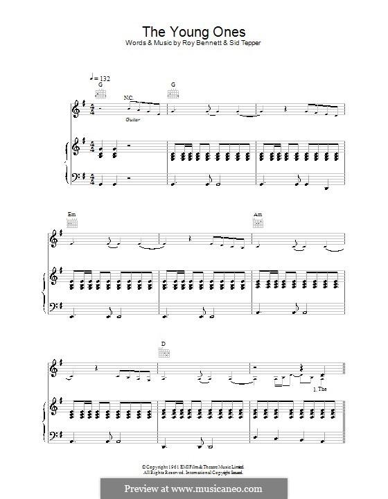 The Young Ones (Cliff Richard): Para vocais e piano (ou Guitarra) by Roy C. Bennett, Sid Tepper