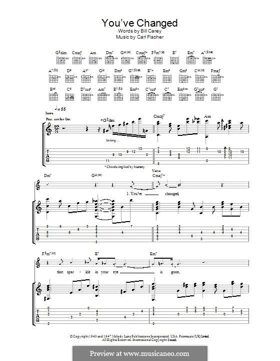 You've Changed (Eva Cassidy): Para guitarra com guia by Bill Carey, Carl Fischer