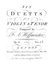 Six Duets for Violin and Viola, Op.13: seis duetos para violino e viola by Franz Anton Hoffmeister
