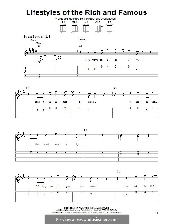 Lifestyles of the Rich and Famous (Good Charlotte): Para guitarra (versão facil) by Benji Madden, Joel Madden
