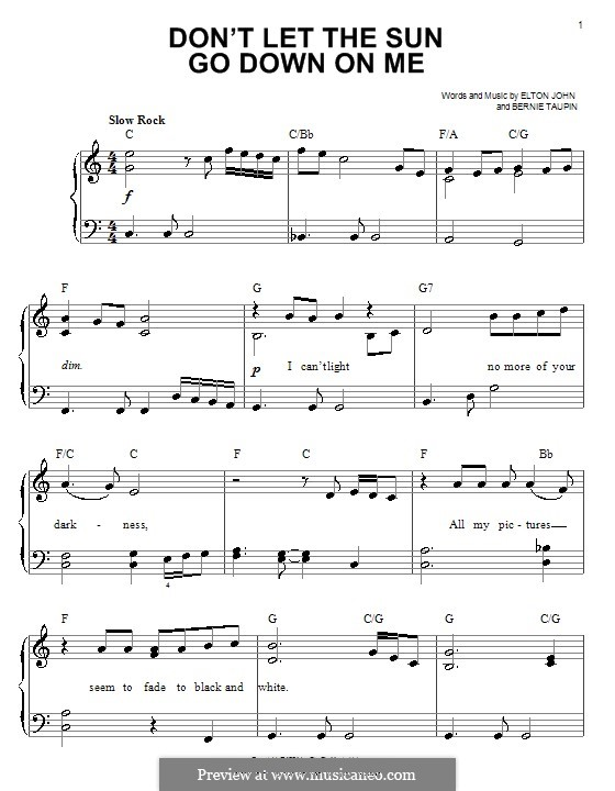 Don't Let the Sun Go Down on Me: Facil para o piano by Elton John