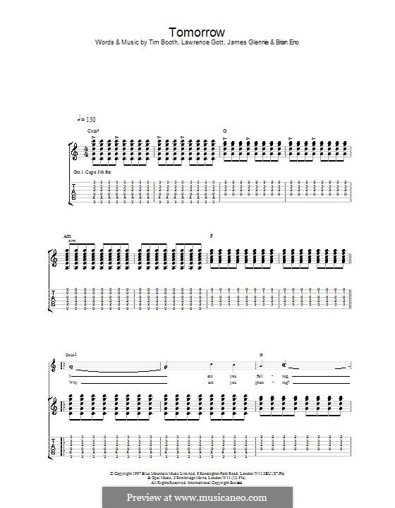 Tomorrow (James): Para guitarra com guia by Brian Eno, David Baynton-Power, James Glennie, Jim Glennie, Lawrence Gott, Marc Hunter, Saul Davies, Tim Booth
