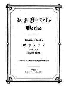 Alexander the Great, HWV 21: Partitura completa by Georg Friedrich Händel