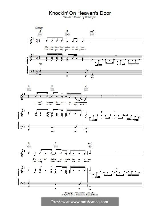 Knockin' on Heaven's Door: Para vocais e piano (ou Guitarra) by Bob Dylan