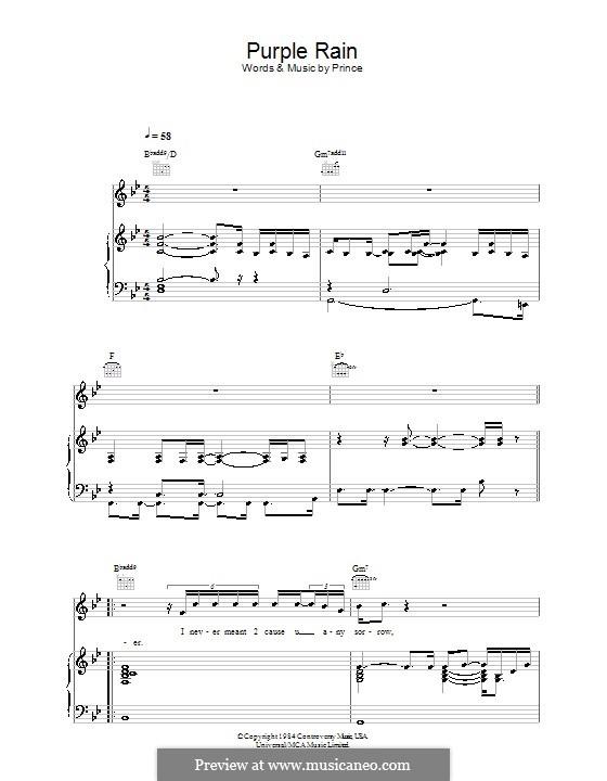 Purple Rain: Para vocais e piano (ou Guitarra) by Prince