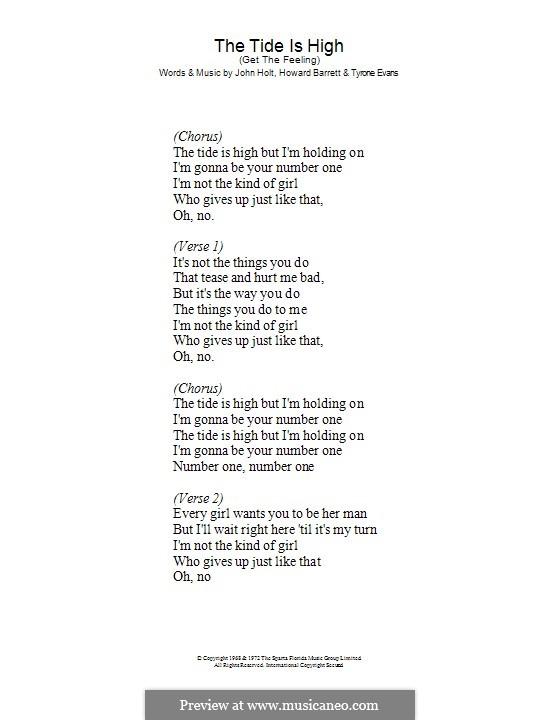 The Tide is High (Get the Feeling): Lyrics only (Atomic Kitten/Blondie) by Bill Padley, Howard Barrett, Jeremy Godfrey, John Holt, Tyrone Evans
