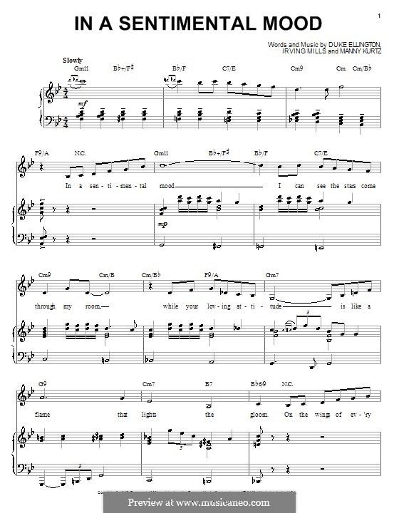 In a Sentimental Mood: Para vocais e piano (ou Guitarra) by Irving Mills, Duke Ellington, Manny Kurtz