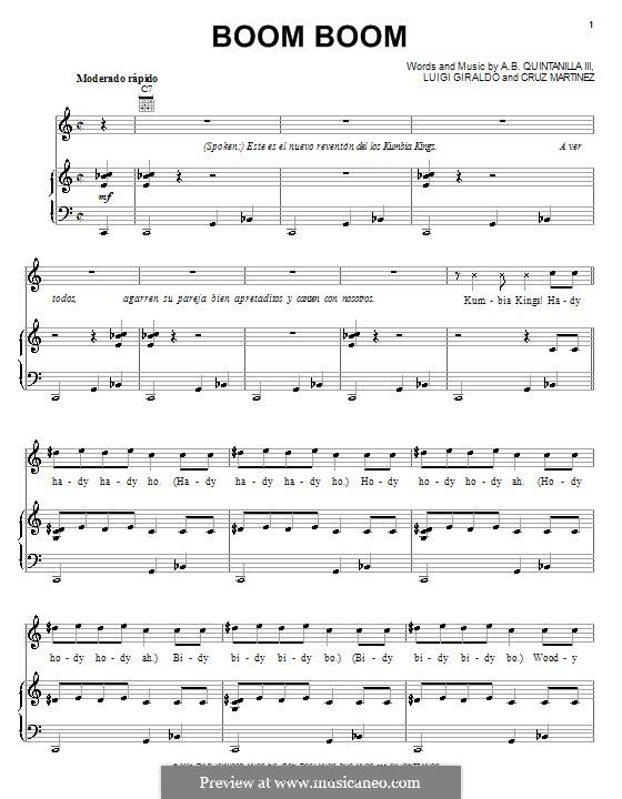 Boom Boom: Para vocais e piano (ou Guitarra) by Cruz Martinez, Luigi Giraldo