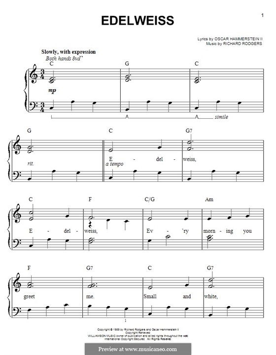 Edelweiss (from The Sound of Music): Facil para o piano by Richard Rodgers