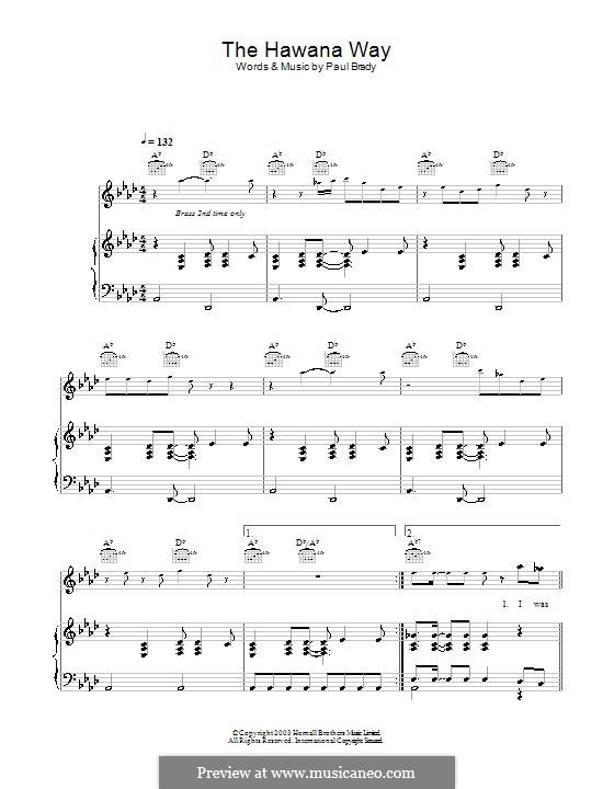 The Hawana Way: Para vocais e piano (ou Guitarra) by Paul Brady