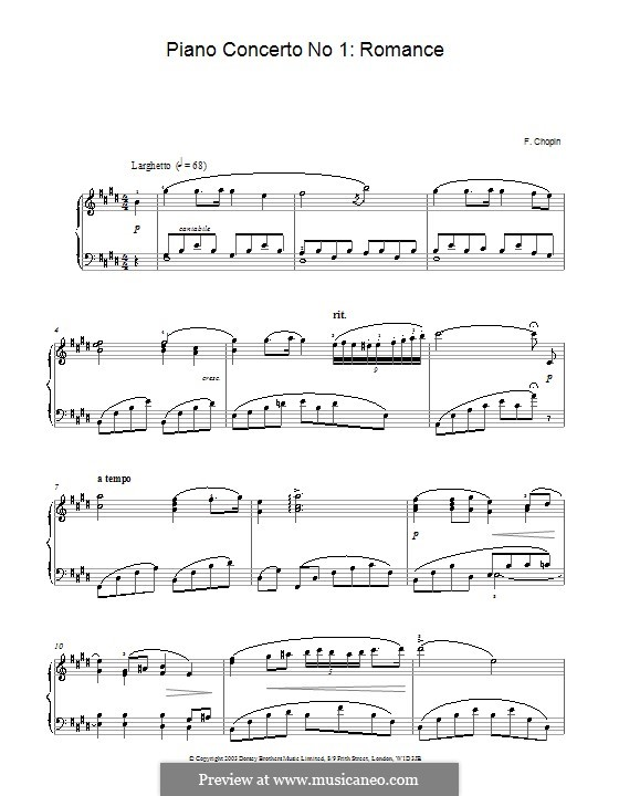 Fragments: Movement II. Version for piano (high quality sheet music) by Frédéric Chopin