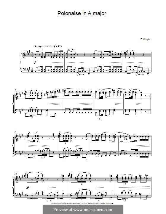 Polonaises, Op.40: No.1 for piano in A Major (high quality sheet music) by Frédéric Chopin