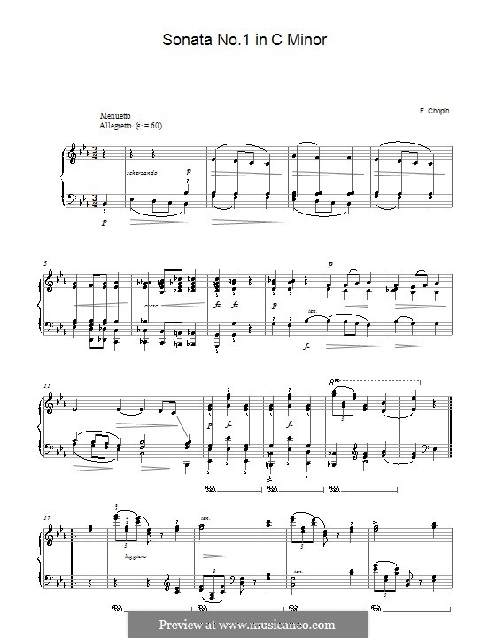 Sonata for Piano No.1 in C Minor, Op.4: movimento II by Frédéric Chopin