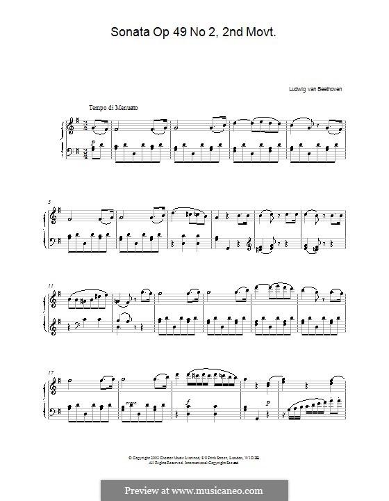 Sonata for Piano No.20, Op.49 No.2: movimento II by Ludwig van Beethoven