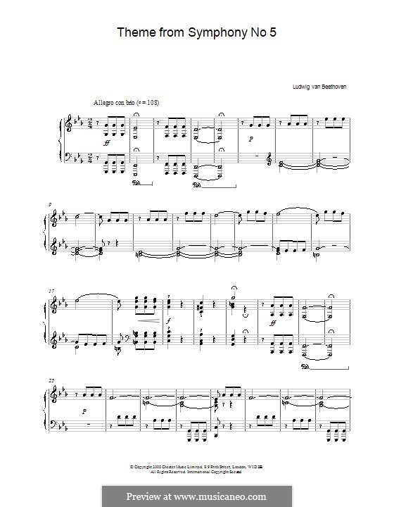 Movement I: Theme. Version for piano by Ludwig van Beethoven