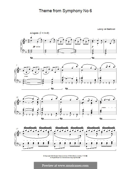 Movement V. The Shepherd's Song: Theme. Version for piano by Ludwig van Beethoven
