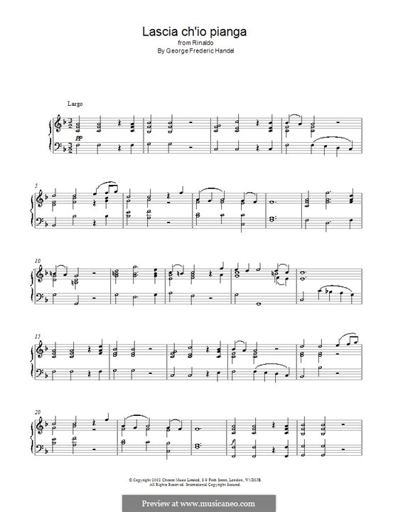 Lascia Ch'io Pianga: Para Piano by Georg Friedrich Händel