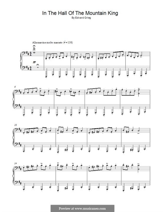 Suite No.1. In the Hall of the Mountain King (Printable Scores), Op.46 No.4: Para Piano by Edvard Grieg
